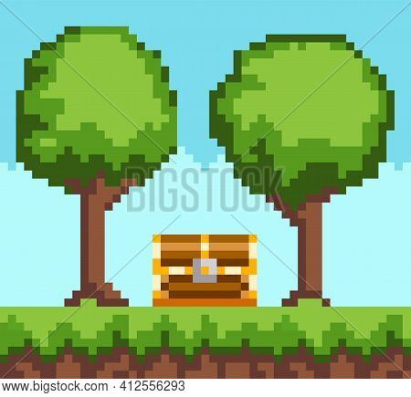 Pixel-game Background With Wooden Chest In Forest. Pixel Art Scene With Green Grass And Tall Trees