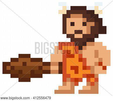 Vector Pixel Illustration Of Cartoon Caveman, Pixelated Primitive Man Wearing Animal Pelt With Baton
