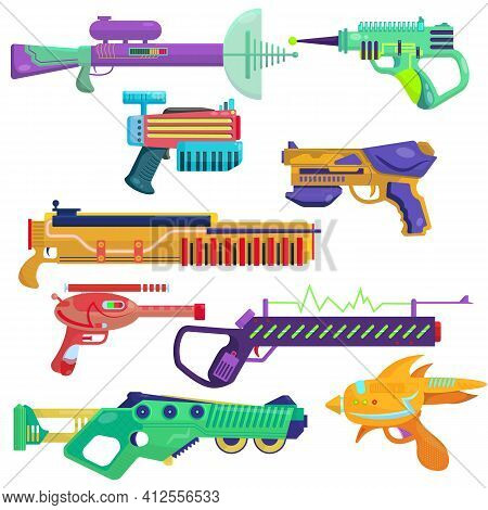 Vector Set Of Blasters. Bright Blasters In A Cartoon Style. Colorful Weapons For Computer Games. Chi