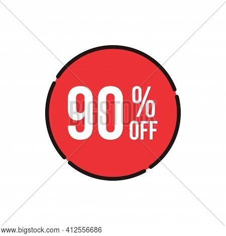 90% Sale Tag Vector Badge Template, 90% Sale Label Collection, Clearance Sale Sticker Emblem, Bargai