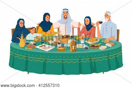 Muslim Family At Dinner, Iftar Or Ramadan Holiday