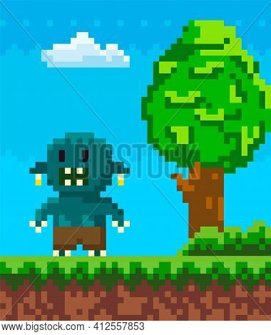 Vector Pixel Geek Character. Illustration Of Pixelated Monster In Natural Landscape With Green Tree