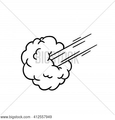 Speed Effect. Movement And Cloud. Air And Steam. Blast And Blast For A Retro Comic. Cartoon Line Ill