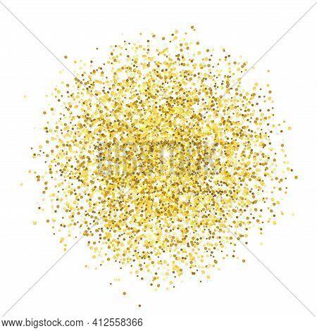 Gold Sparkles Glitter Placer On White Background. Vector