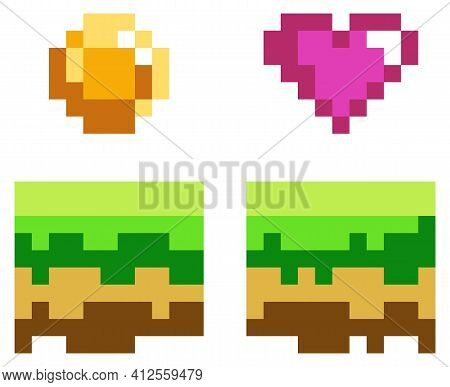Pixel Art Style Coin And Heart For Retro Pixel-game. Shiner Golden Coin, Pixelated Awards Sketch