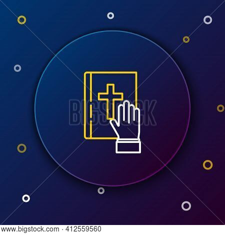 Line Oath On The Holy Bible Icon Isolated On Blue Background. The Procedure In Court. Truth And Trut