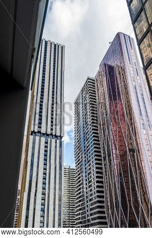 Melbourne, Australia - May 13, 2019: View Of Modern High-rise Buildings In Diminishing Perspective F