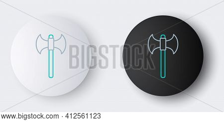 Line Medieval Axe Icon Isolated On Grey Background. Battle Axe, Executioner Axe. Colorful Outline Co