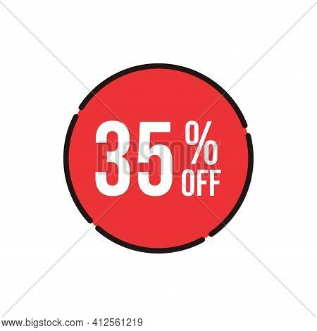 35% Sale Tag Vector Badge Template, 35% Sale Label Collection, Clearance Sale Sticker Emblem, Bargai