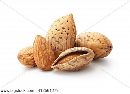 Close-up Of Almonds Isolated On White Background