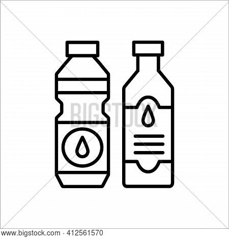 Cooking Oil Bottle. Vector Line Icon. Vegetable Fat Jar. Isolated Object On White Background. Natura