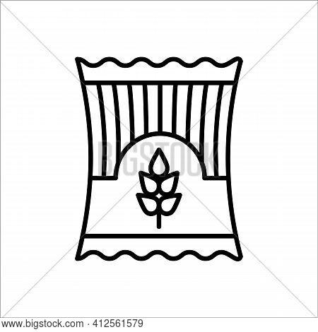 Pasta Pack. Spaghetti Packet. Vector Line Icon. Noodle Package. Italian Food. Isolated Object On Whi