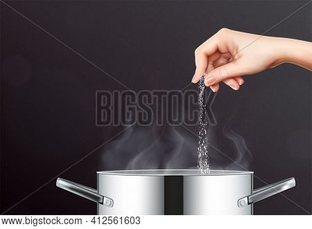 Salt And Pot Realistic Composition With Human Hand Pouring Salt Into Cooking Pot With Boiling Water