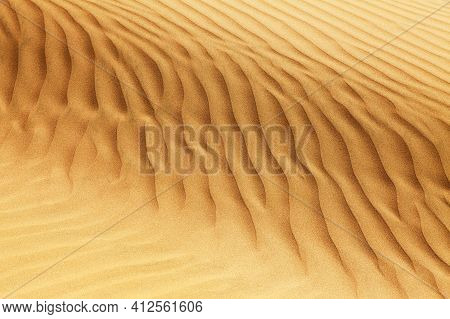 Desert Sand Dunes, Sand Waves On Cerro Blanco Sand Dune, The Highest Dunes On The World, Located Nea