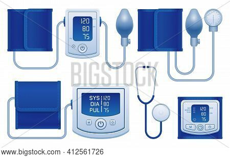 Digital And Manual Aneroid Stethoscope Tonometers With Normal Arterial Blood Pressure Measuring Resu