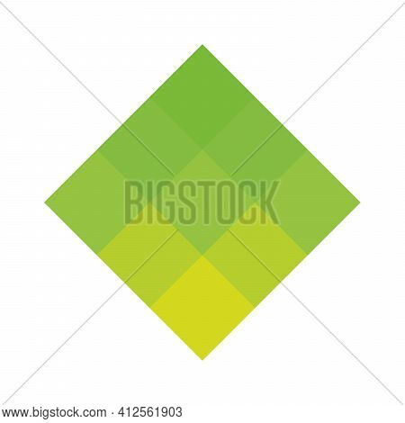 Green Pixelized Mosaic Logo Design Element. Abstract Shape Of Multiple Squares. Simple Flat Vector G