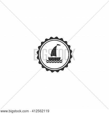 Nautical Black Yacht Label Isolated On White. Ship And Boat Steering Wheel Sign. Rudder Label. Nauti