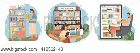 Book Composition Flat Icon Set Different Ways Of Reading Books From The Home Shelf The Bookstore And