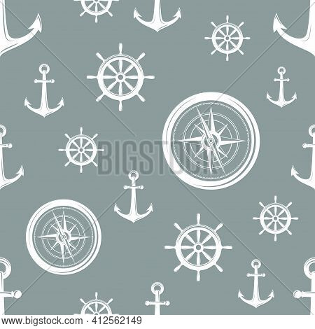 Nautical Seamless Pattern With White Helms, Anchors And Compass On Grey. Ship And Boat Steering Whee