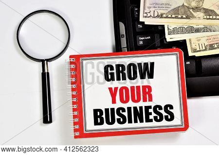 Grow Your Business. A Text Label In The Planning Notebook. A Long-term Vision Of Future Actions, The