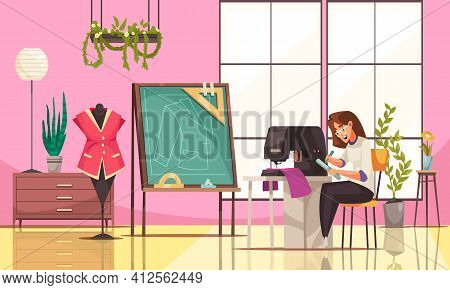Happy Young Seamstress Using Sewing Machine In Modern Studio Cartoon Vector Illustration