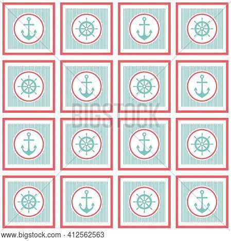 Nautical Seamless Pattern With Helms And Anchors On White. Ship And Boat Steering Wheel Ornament. Ma