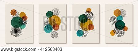 Creative Minimalist Hand Painted Abstract Art Background With Watercolor Stain And Hand Drawn Doodle