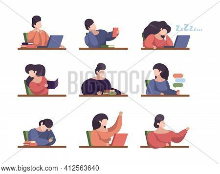 Lazy Students. People In Lecture Room With Laptop College Persons Studying Sitting Listening Talking