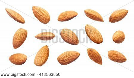 Different Angle Of Raw Almonds Isolated On White Background