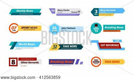 Breaking News. Broadcast Boarders And Headers With Tv Text On Screens Garish Vector Template Graphic