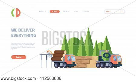Wooden Production. Business Landing Web Page With Forestry Industry Production Pictures Of Lumber Sa