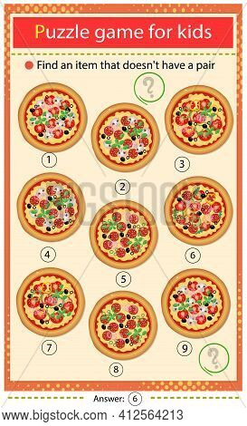 Find A Pizza That Does Not Have A Pair. Puzzle For Kids. Matching Game, Education Game For Children.