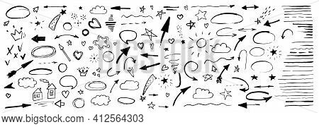 Hand Drawn Doodle Design Elements, Black On White Background. Swishes, Swoops, Emphasis, Arrow, Crow