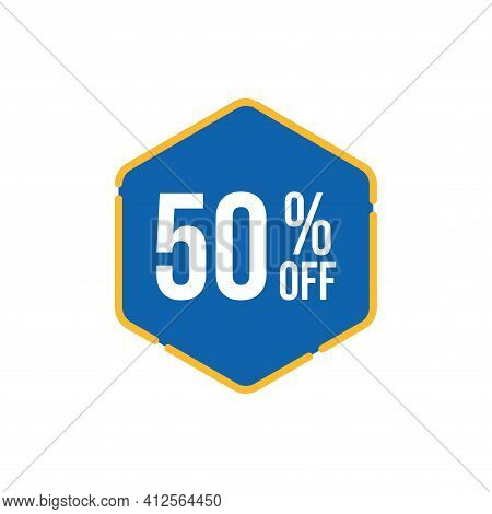 50% Sale Tag Vector Badge Template, 50% Sale Label Collection, Clearance Sale Sticker Emblem, Bargai
