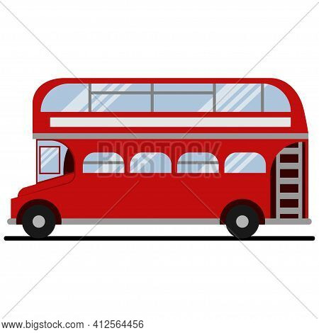 Red Double-decker London Bus. Vector Flat Icon Of City Tourist Transport Of The Uk Isolated On White
