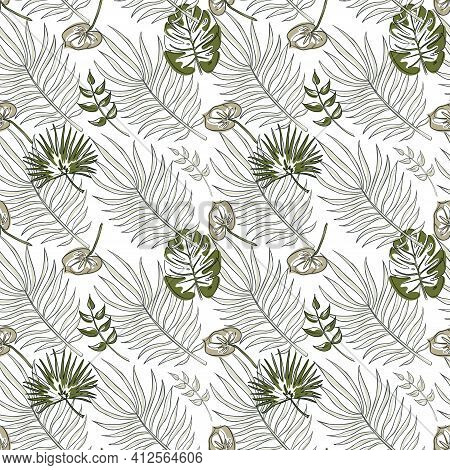 Botanical Seamless Patten With Tropical Leaves On Dark Green Background With Gold Accents. Repeated