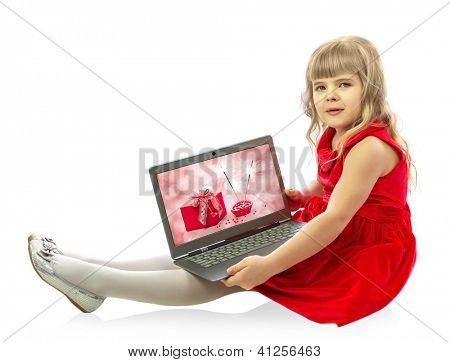Girl with laptop isolated on white background