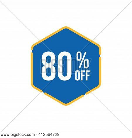 80% Sale Tag Vector Badge Template, 80% Sale Label Collection, Clearance Sale Sticker Emblem, Bargai