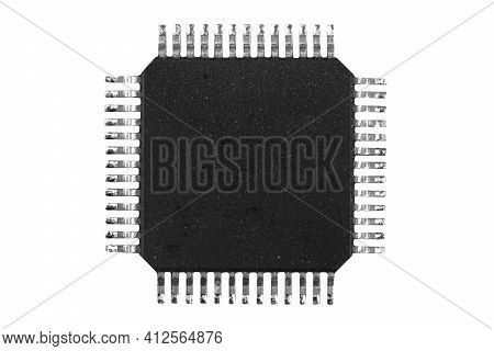 Macro Shot Microchip Isolated On White Background. Computer Hardware Technology. Integrated Communic