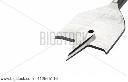 Feather Wood Drill Bit Isolated On White Background. Drill Bit For Wood Isolated On A White Backgrou