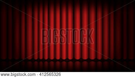 Closed Red Curtain Stage Background. Spotlight Beam Illuminated. Theatrical Drapes. Template Design