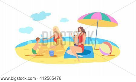 Two Women Lesbians With Children Are Resting On The Beach By The Sea. Gay Women. Lgbt, Lesbians. Vec
