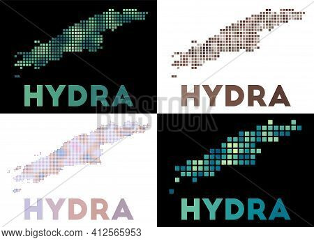 Hydra Map. Collection Of Map Of Hydra In Dotted Style. Borders Of The Island Filled With Rectangles