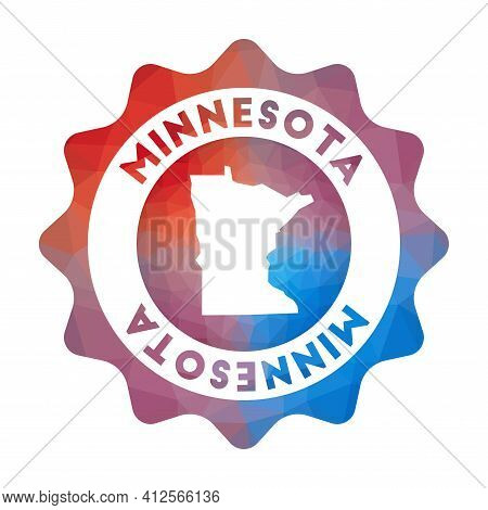 Minnesota Low Poly Logo. Colorful Gradient Travel Logo Of The Us State In Geometric Style. Multicolo