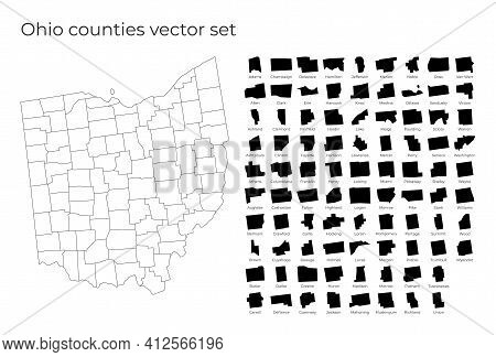 Ohio Map With Shapes Of Regions. Blank Vector Map Of The Us State With Counties. Borders Of The Us S
