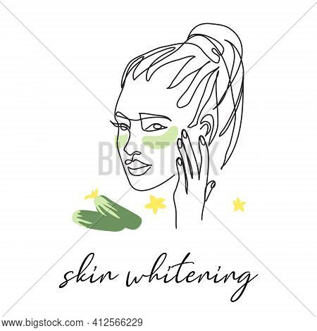 Under Eye Patch With Cucumber, Skin Whitening. Face Line Art, Pretty Girl Head Drawing