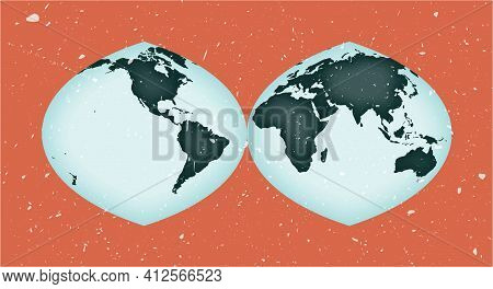 World Map Poster. Quartic Authalic Projection Interrupted Into Two Hemispheres. Vintage World Shape