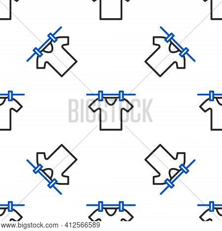 Line Drying Clothes Icon Isolated Seamless Pattern On White Background. Clean Shirt. Wash Clothes On