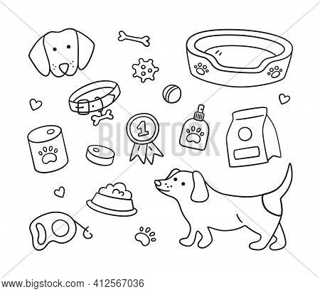 Set Of Dachshund, Dog Elements And Canine Accessories. Collar, Leash, Food, Bad, Ball, Paw Print. Ha