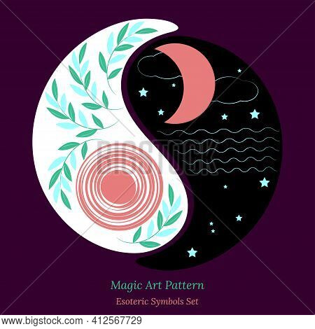 Yin Yang Symbol Set, Day And Night, Sun And Moon, Unity And Opposite. Vector Drawing For Design Of A